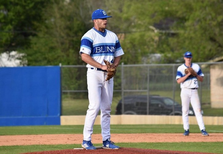 Jackson Leath set the tone on the mound for Blinn in its second playoff game against Laredo College in the consolation bracket of the Region XIV Tournament, earning the win with four strikeouts and one earned run over five innings.
