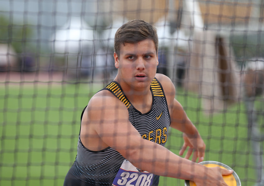 Luke Thielemann of Sealy High School competes in the Class 4A boys discus event at the UIL State Track and Field Meet on Saturday, May 11, 2019 at Mike A. Myers Stadium in Austin, Texas.