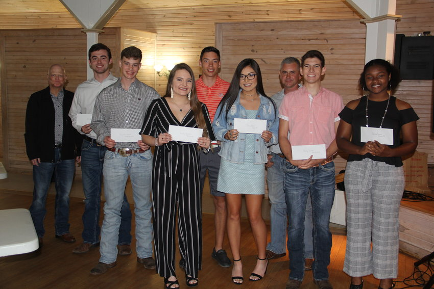 From left are J.R. Minyard and John Hendrix from Bellville, Hayden Reeves of Morton Ranch, Haley Guerrero from Bellville, Aidan Roberts and Tina Pham from Sealy, Randy Stavinoha and Brody Schiller from Faith Academy and Akire Cormier of Brazos. Recipients not at the ceremony, but received scholarships are Cameron Crawford of Faith Academy and Katherine Ressler from Brazos.