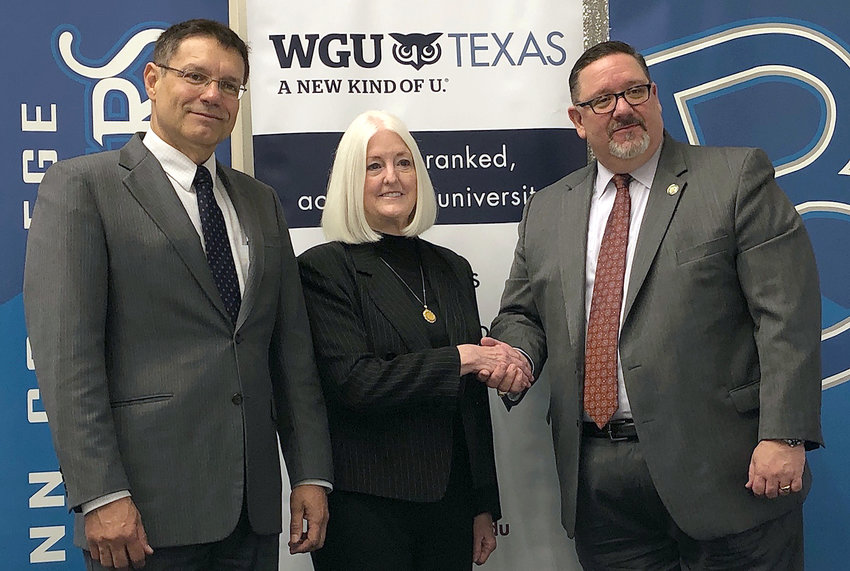 Dr. Marcelo Bussiki, vice chancellor of academic affairs at Blinn College, Blinn Chancellor Mary Hensley, and WGU Texas Chancellor Steven Johnson signed a partnership agreement between WGU Texas and the Blinn College District.