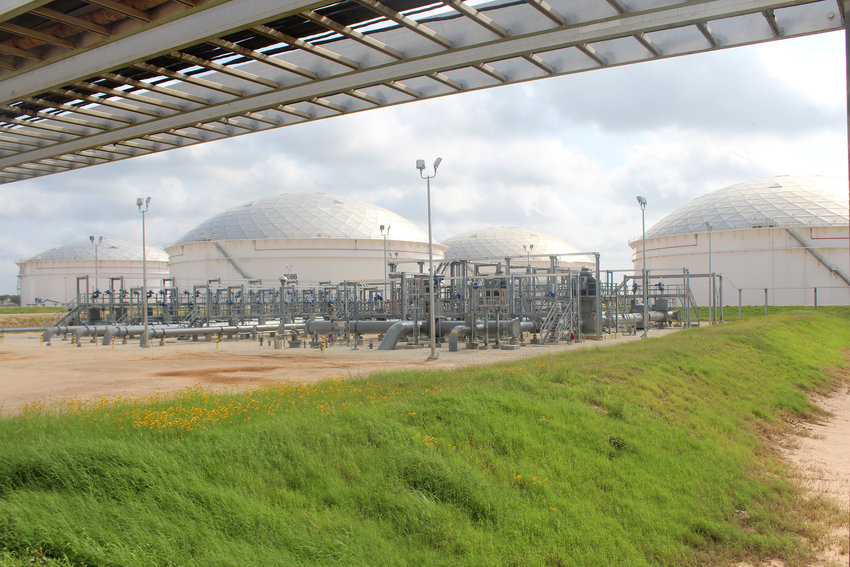 The new domed tanks at Enterprise Products' Sealy station are designed with fire suppression devices and grounding against lightning strikes.
