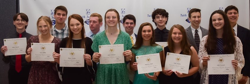 The Presidential Academic Excellence award went to students who made the All A's honor roll all year. From left in the back are Ethan Matuska, Nathan Taake, Pierce Newcomb, Tanner David, Ethan Matuska, Maury Cano and Nathan Figueroa. In front, from left are Lacy Phillips, Regan Woodley, Julia McKinney, Maddie Odom, Emily Maddox and Addie Kuespert.