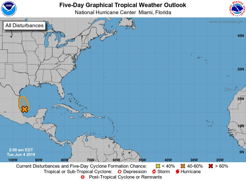 There is a 40-60% chance of a disturbance right below the lone star state.