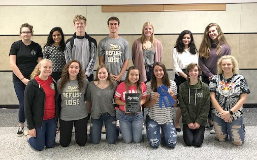 The students are pictured here with the Outstanding Student Council and Sweepstakes awards.