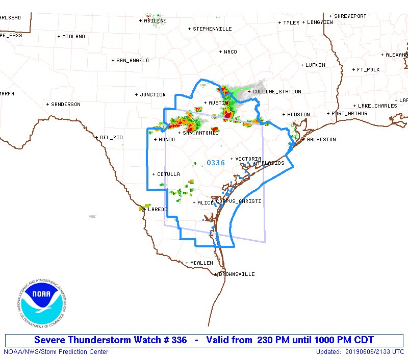 Severe Thunderstorm Watch Outline and Radar Overlay
