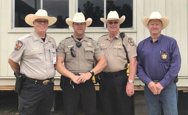 Pictured from the left are Capt. Buddy Riddle, Sgt. Rob Lockett, Lt. Billy Ruemke and Sheriff Jack Brandes.
