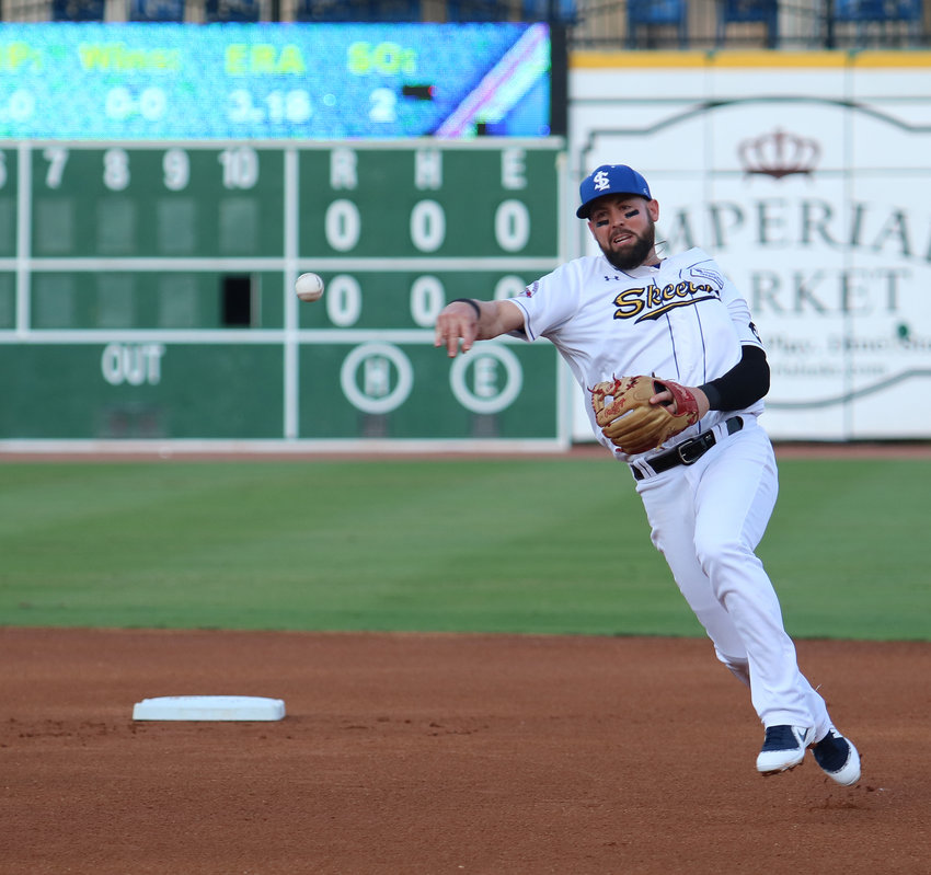 Jason Martinson makes a throw to first during a recent game at Constellation Field. Martinson drove in six runs June 5 to tie the Skeeters all-time single-game record and earn Skeeter of the Week honors.