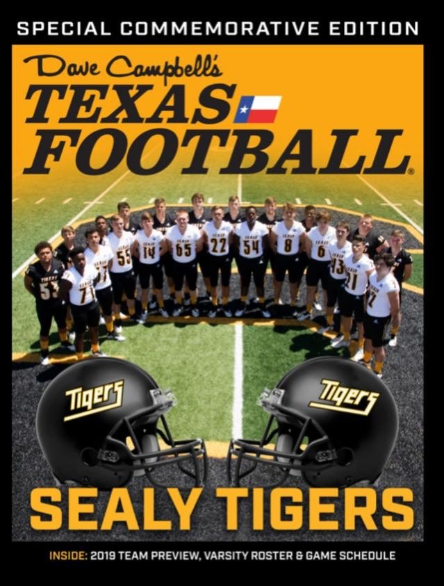 """This summer, the Sealy Tiger Booster Club has partnered with Dave Campbell's Texas Football to create a custom, cover-wrapped copy of the 2019 """"bible"""" of Texas Football for fans in the community."""