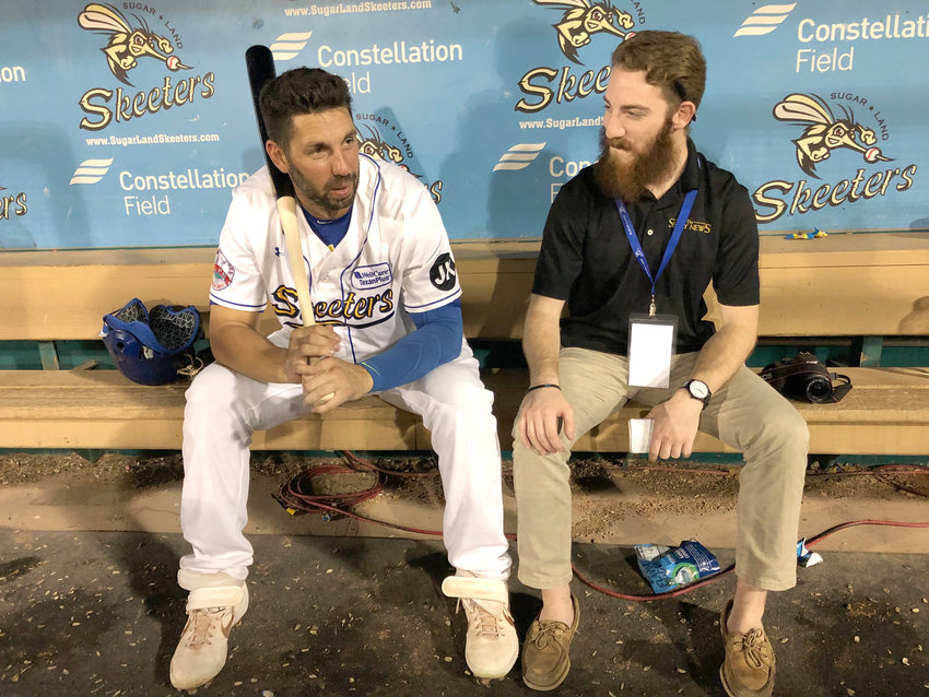 Milford High School and Post 59 alumni Chris Colabello (left) and Cole McNanna trade stories after a Sugar Land Skeeters game against the Lancaster Barnstormers at Constellation Field.
