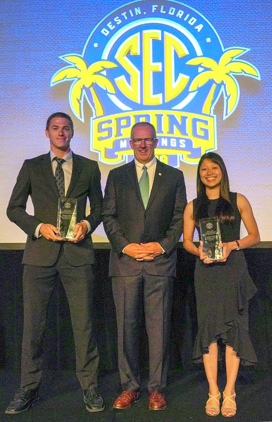 Nathan Hite became only the second athlete from Texas A&M (swimmer Sarah Gibson was first in 2017) to earn the title of H. Boyd McWhorter Scholar-Athlete of the Year. He is pictured along with the Commissioner of the Southeastern Conference, Greg Sankey (center), and the female recipient, Kristin Quah from the Vanderbilt bowling squad.