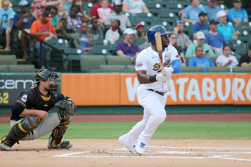 Jared Mitchell gets a hit for the Sugar Land Skeeters during a recent home game against the New Britain Bees. The Bees swept the Skeeters in New Britain last week, but Mitchell extended his hitting streak to 11 games, earning him Skeeter of the Week honors.