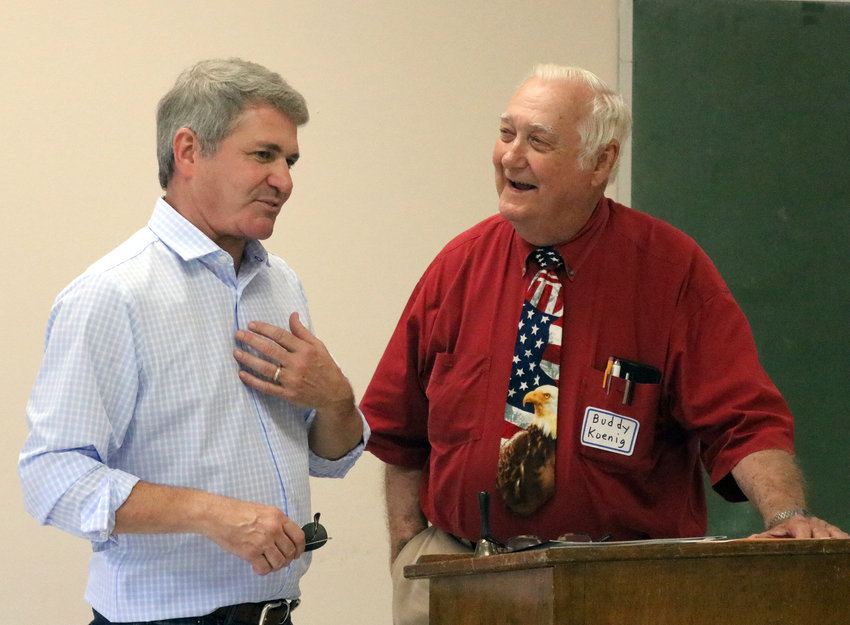Congressman Michael McCaul (left) visited Bellville for a congressional update and is pictured with Buddy Koenig, chairman of the Austin County Republican Party.