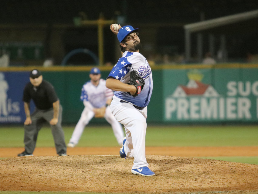 Daniel Schlereth pitches in relief during a game June 28 against the High Point Rockers at Constellation Field. The son of three-time Super Bowl champion Mark Schlereth, Daniel chose a professional baseball career despite growing up in a football household.