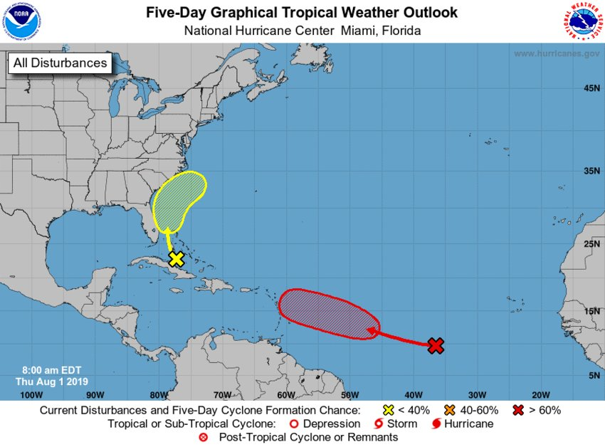 As 96L approaches, the eastern/northeastern Caribbean Sea over the next five days upper-level winds may become more favorable for the formation of a tropical depression or storm.   The National Hurricane Center currently gives the area a 20% chance of development over the next 48 hours and a 70% chance over the next five days.
