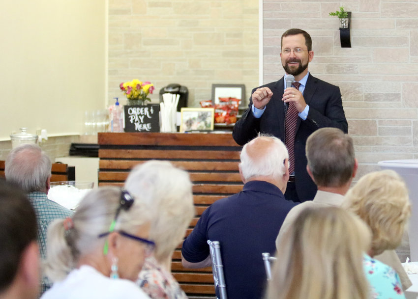 District 13 State Rep. Ben Leman gives a report about the 86th Legislature to members and guests of the Sealy Chamber of Commerce during a luncheon Wednesday at Backdrop Events Venue.