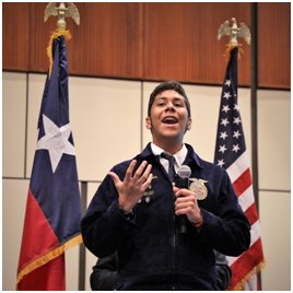 Spanish creed speaker: Sealy High School student Alejandro Pinales represented his FFA chapter on the biggest stage and earned first place overall in Spanish creed speaking at the FFA State Convention in Fort Worth.
