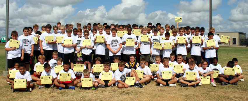The Sealy Tiger Youth Football Camp drew 97 young athletes out to work with the high school coaching staff in running the same drills as the big guys to wrap up the end of their summer.