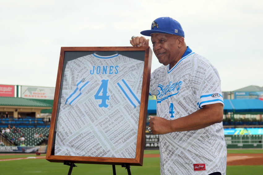 Sugar Land Skeeters special assistant Deacon Jones is all smiles as his jersey is retired during a pre-game ceremony Saturday at Constellation Field. It was the first number to be retired by the team.