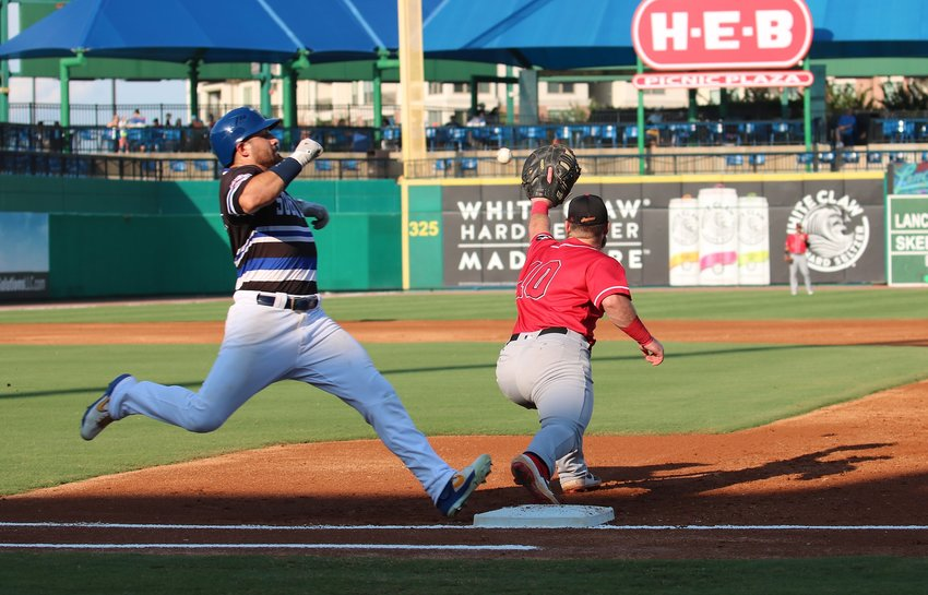 Anthony Giansanti beats the throw to first during a recent game against the Lancaster Barnstormers at Constellation Field. Giansanti belted two home runs last week on the road for the Skeeters.