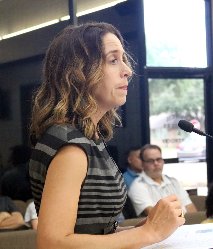 Melissa Washington of the Texas General Land Office gives an update on Hurricane Harvey recovery grants to the Sealy City Council during the Aug. 20 meeting.