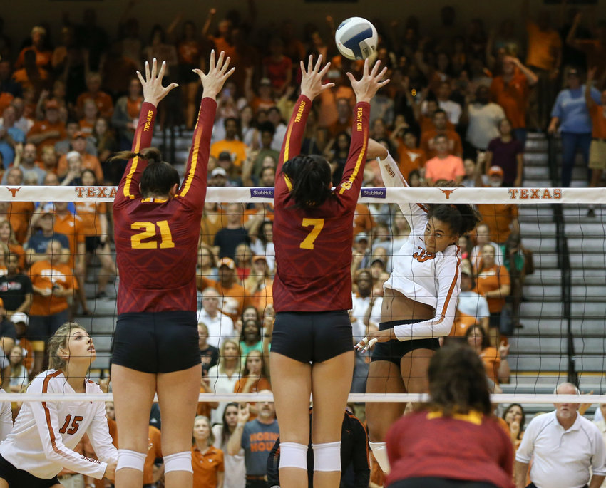 Texas Longhorns LOGAN EGGLESTON (33) during an NCAA volleyball match between the University of Texas and the University of Southern California at Gregory Gymnasium in Austin, Texas on September 1, 2019.