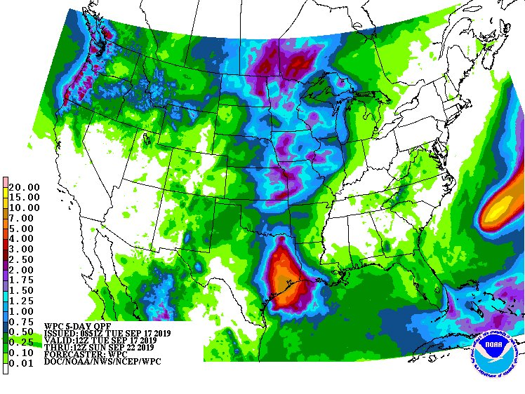 Five-day forecasted rain totals