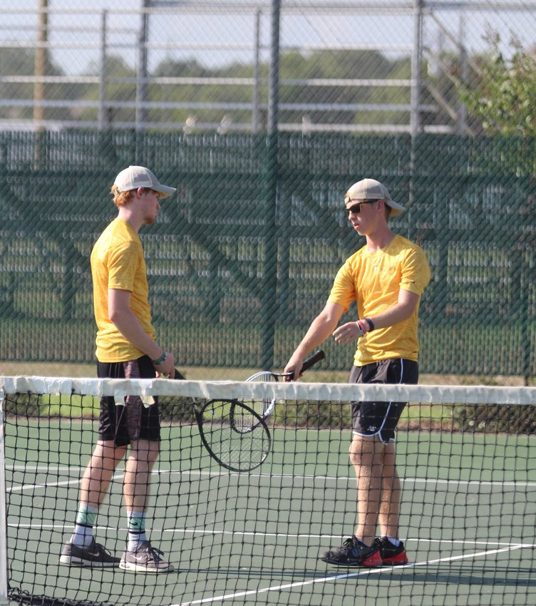 Jonah DeLozier (right) and Austin Keeton picked up a doubles win in 8-2 fashion over Stafford's top pair last week.