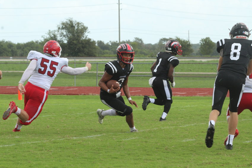Quarterback Jaylin Vela (2) supplied a touchdown through the air and on the ground in the second quarter to help Brazos take a 14-0 lead into halftime in their week-3 win over Danbury.