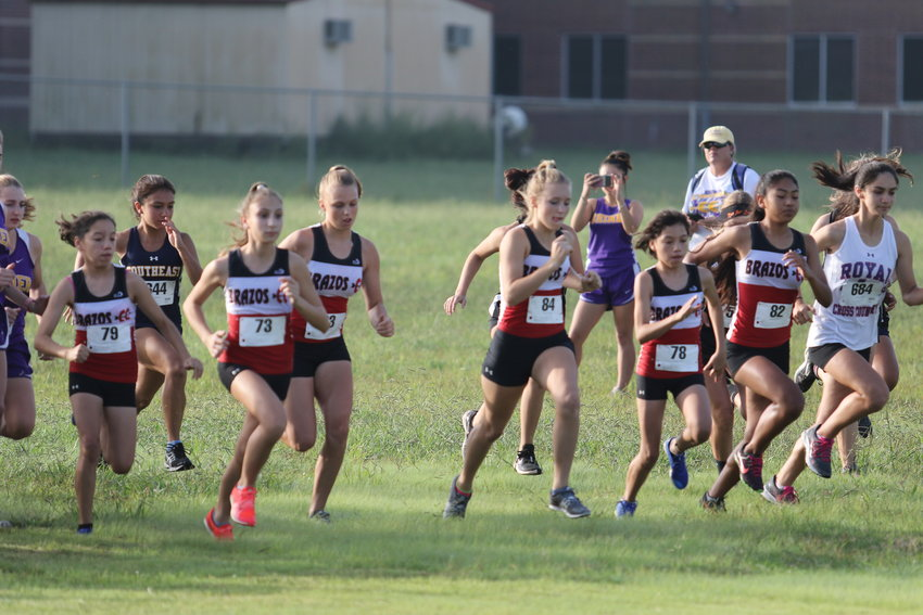 The Brazos Cougarettes finished as the best 2A school in the 1A-4A division at the Texas A&M-Corpus Christi Islander Splash Cross Country Meet last Saturday morning, getting a boost from Makinzy Kneip (84) who was the top Brazos female finisher out of 345 runners.