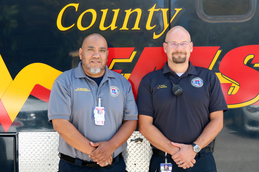 Lt. Paramedic Willie Saldana, left, and Paramedic Gregory Stump deployed to East Texas for three days two help with recovery efforts after Tropical Storm Imelda flooded the area.