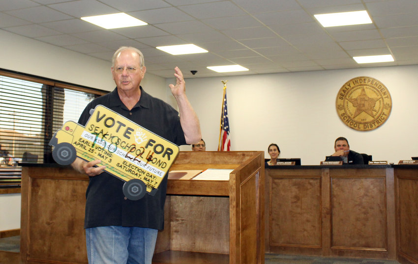 Bill Hobson, who helped a Sealy ISD bond election pass a couple years ago, was back at last week's meeting of the Sealy ISD Board of Trustees to reiterate his support of the students looking into the agriculture and culinary avenues who will benefit from a new barn and kitchen, which were on the agenda to discuss.