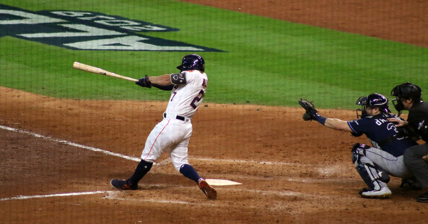 Jose Altuve's blast in the fifth inning gave the Astros a 2-0 lead over the Tampa Bay Rays in Game 1 of the ALDS Friday afternoon at Minute Maid Park.