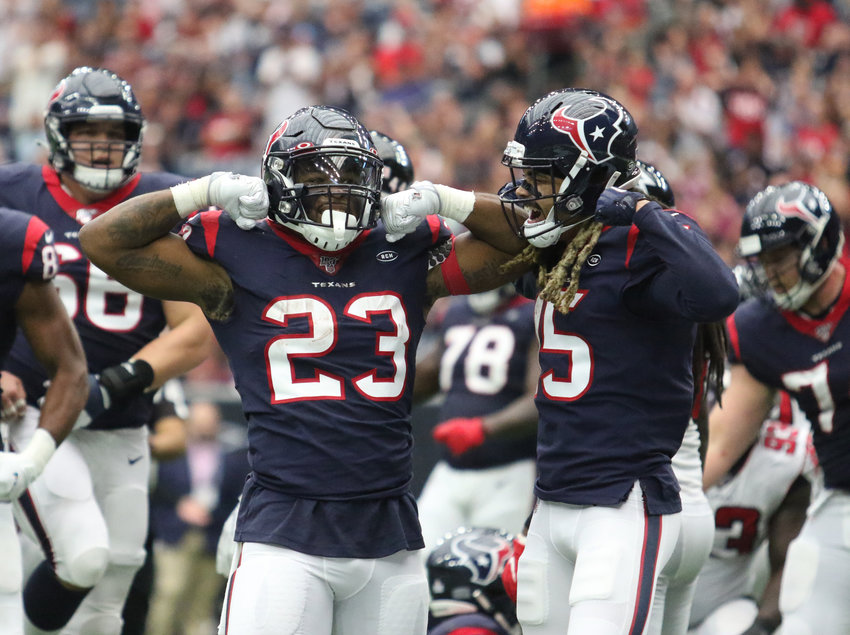 Carlos Hyde, 23, celebrates a touchdown against the Atlanta Falcons Oct. 6. On Sunday in Kansas City, Hyde ran for 116 yards and a touchdown as the Houston Texans beat the Chiefs 31-24.