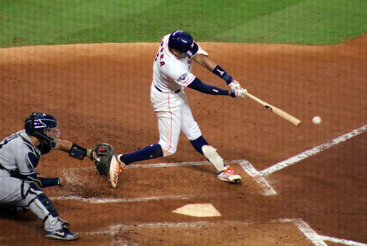 Carlos Correa supplied the Astros' first lead of the series with a second-inning double to score Alex Bregman who recorded the first Houston hit on the night of Game 2 of the ALCS at Minute Maid Park Sunday night. Correa later provided the walk-off home run, his second walk-off hit against the Yankees in a Game 2 of the ALCS.