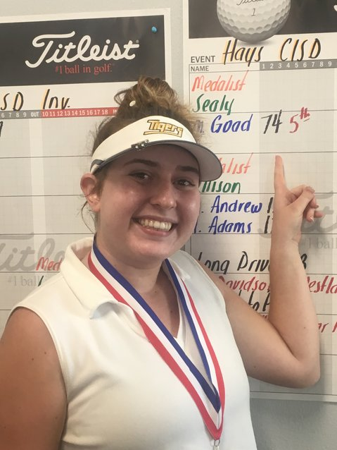 In the first action of the fall, Sealy senior Maddie Goad hit the Plum Creek Golf Course in Kyle on Tuesday, Oct. 1 for the Hays High School Invitational Golf Tournament. Competing against Class 6A opponents, Goad hit three birdies and nine pars for a round total of 74 which placed her fifth out of all 110 golfers.