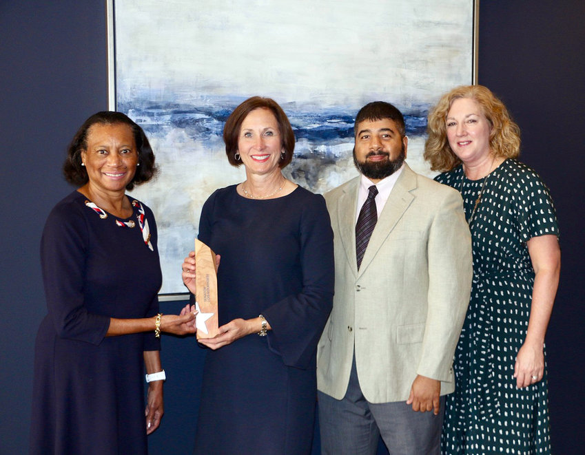 Pictured from the left are AARP Texas President Charlene Hunter James, Sen. Lois Kolkhorst, and AARP staff members Mir Alikhan and Amanda Fredriksen.