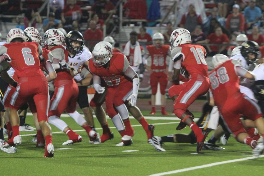 Richard Reese (10) looks for running room during a non-district game with the Sealy Tigers earlier in the year. Last week Reese shouldered much of the load for the Bellville run game and will look to provide another sizeable contribution in the second district tilt against Giddings this week.