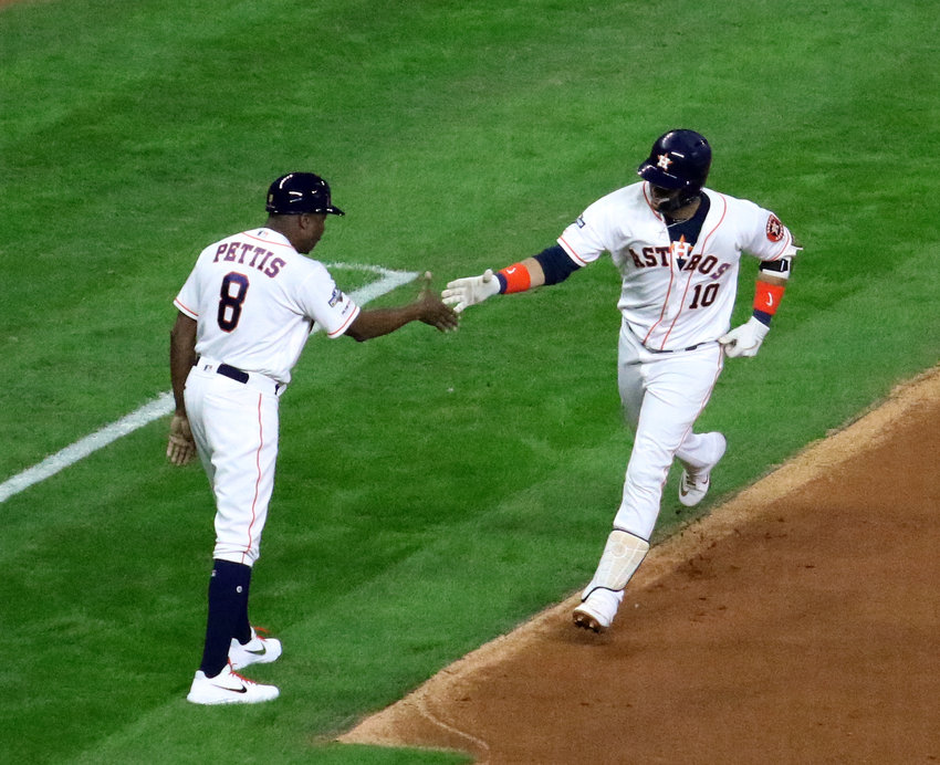Yuli Gurriel got the Astros out in front early with a 3-run home run in the bottom of the first inning of Game 6 of the American League Championship Series against the New York Yankees Saturday night at Minute Maid Park.