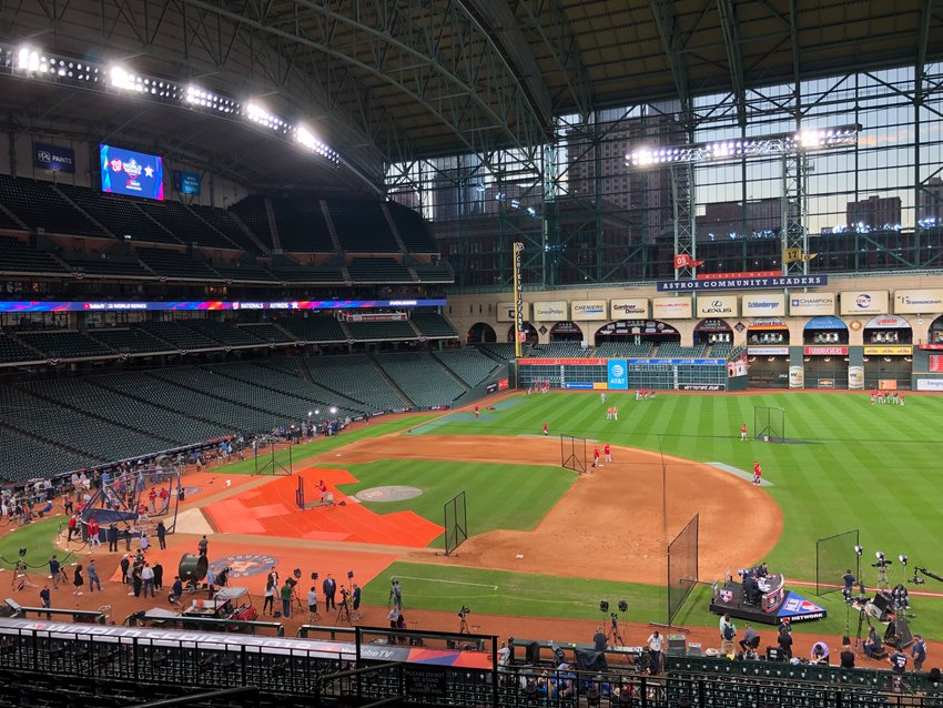 The Washington Nationals practiced at Minute Maid Park after media day festivities Monday night in Houston in preparation for the 115th playing of the World Series.