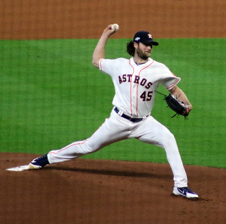 Gerrit Cole will receive the ball to start Game 1 of the World Series for the Houston Astros in the franchise's third appearance in the fall classic and second in the last three years. Pictured is Cole in his 11-strikeout performance against the Tampa Bay Rays to advance Houston to its third consecutive ALCS.