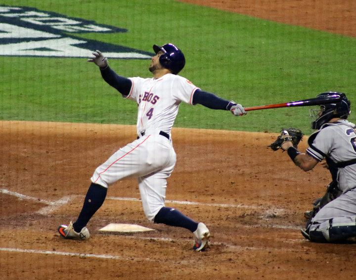 George Springer bookended the Astros' scoring with a ninth-inning, two-run home run to push Houston's lead to 7-1 which was the final score to take a 3-2 series lead with Game 6 set for Minute Maid Park in Houston Tuesday night. Pictured is Springer at the plate against the New York Yankees from the American League Championship Series the Astros won, 4-2.