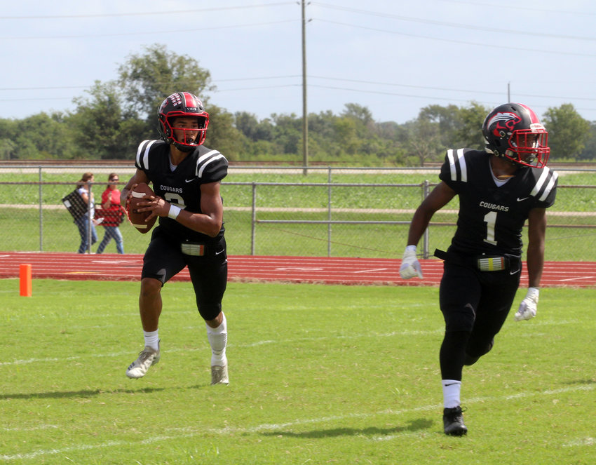 Jaylin Vela (2) and Malcolm Toles (1) will look to continue to spark the Brazos offense heading into its fourth straight postseason against Refugio this Friday in Cuero. The Cougars will need to put points on the board to keep up with the Bobcats who are ranked sixth in Class 2A on Maxpreps.com.