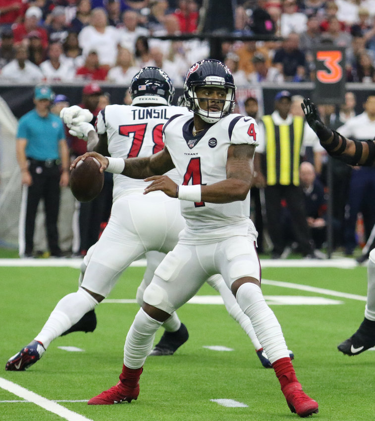 Houston Texans quarterback Deshaun Watson completed 14 of 23 passes for 154 yards with one interception and a fumble and was sacked six times in a 41-7 loss at the Baltimore Ravens Sunday. He is pictured here in a game against the Jacksonville Jaguars at NRG Stadium.