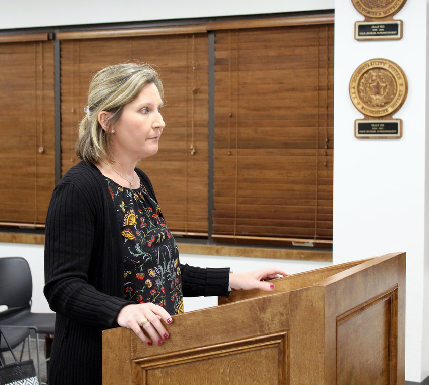"""Lisa Svoboda, Sealy ISD's chief financial officer, kicked off last Wednesday's school board meeting with the report from the School Financial Integrity Rating System of Texas for the 2017-2018 school year where Sealy earned an """"A"""" rating."""