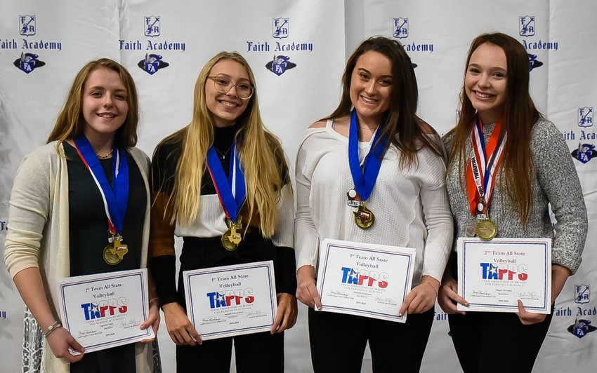 Four Lady Knights who earned academic all-state distinction for their work in the classroom and on the volleyball court on top of all-state team bids were honored at Faith Academy's fall sports banquet on Nov. 18. From left, Gabriella Yates, Isabella Schoenborn and Marissa Przyborski garnered first-team all-state honors and Regan Woodley, right, earned a spot on the second-team all-state.