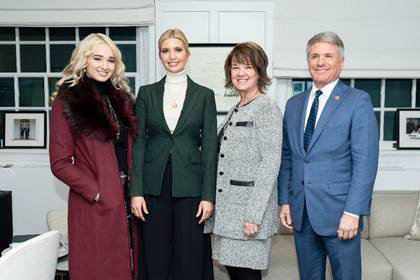 Human trafficking survivor Courtney Litvak, right, and her mother, Kelly Litvak, second from right, of Katy met with Ivanka Trump, second from left, and U.S. Rep. Michael McCaul, right, to talk about how best to combat human trafficking.