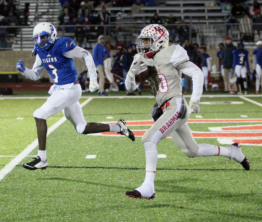 Richard Reese (10) eclipsed the 2,000-yard mark on the season and was named District 12's offensive MVP. He has two more years remaining at Bellville. Pictured is a run against the Wharton Tigers in the bi-district round at Columbus Memorial Stadium that served as the Brahmas' first of two postseason wins this year.