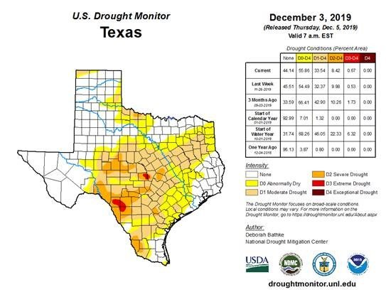 Drought conditions have expanded in the last month with a general lack of rainfall, especially across central and southwest Texas.