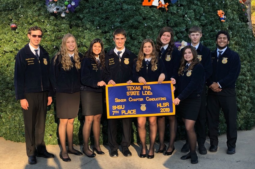Nine Sealy FFA members represented the chapter on the biggest stage at the state competition at Sam Houston State on Dec. 7-8. Pictured from left are Braden Ashorn, Brylie Nedd, Jordyn Davila, John Owen, Rayne Wallace, Avery Oliver, Hattie Schalla, Cameron Hein, and Alex Pinales.