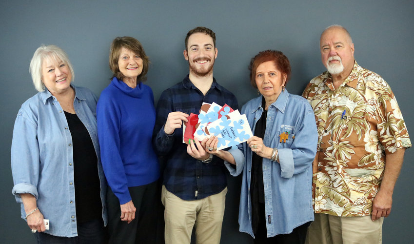 Pictured from the left are Patricia Knapp, Barbara Brandes, Cole McNanna of The Sealy News, Lynn Ehler, and Tom Knapp.